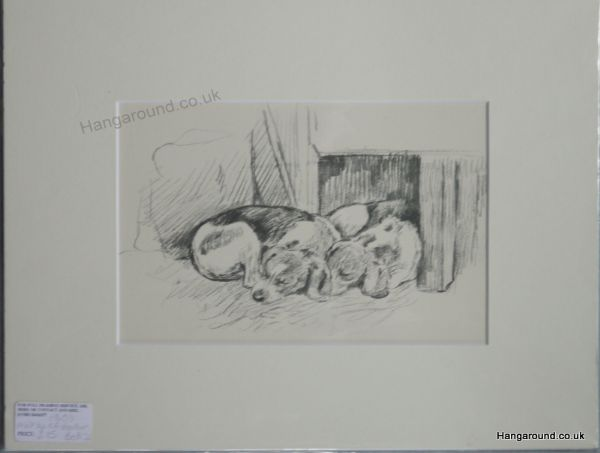 2 Beagles sleeping- Be B12 - 1940's print by K F Barker